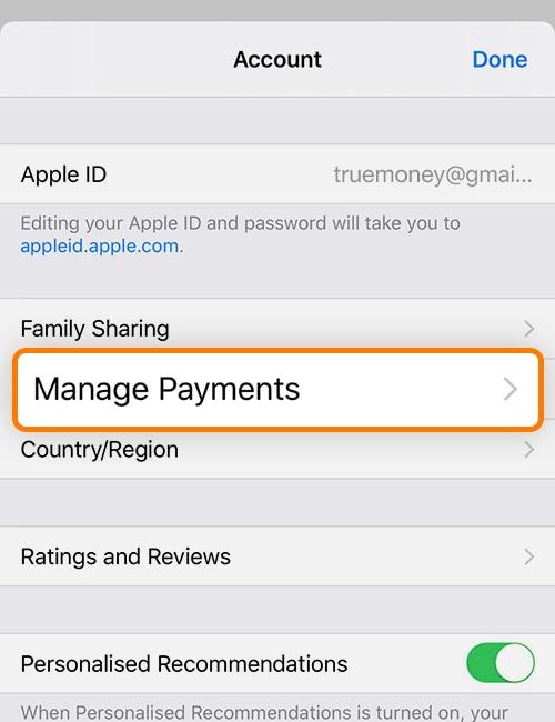 3. เลือก Manage Payments