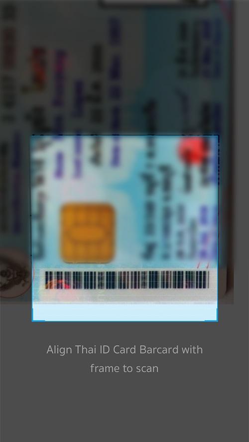 4. <b>สแกนบาร์โค้ด</b> บนหน้าบัตรประชาชน<